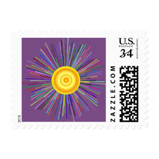 Sun Over The Moon Rainbow Fractal Postage