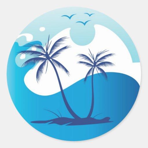 sun-palm-tree-vector-2 classic round sticker