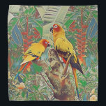 "Sun Parakeets Bandana<br><div class=""desc"">A bright pair of sun conures in their natural habitat.</div>"