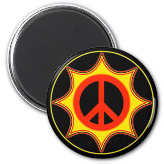 SUN PEACE SIGN 2 INCH ROUND MAGNET