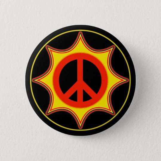 SUN PEACE SIGN PINBACK BUTTON
