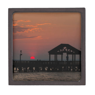 Sun Peeking over Pier 2 Jewelry Box