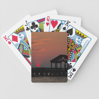 Sun Peeking over Pier 2 Bicycle Playing Cards