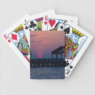 Sun Peeking over Pier 3 Bicycle Playing Cards