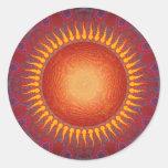 Sun psicodélico: Diseño espiral del fractal Pegatina Redonda
