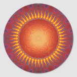 Sun psicodélico: Diseño espiral del fractal Etiqueta