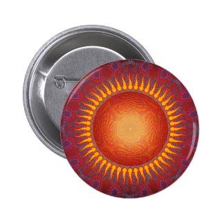 Sun psicodélico: Diseño espiral del fractal Pin Redondo De 2 Pulgadas