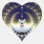 Sun psicodélico pegatina en forma de corazón