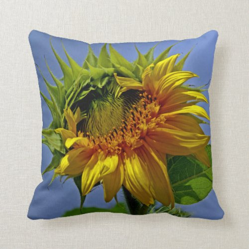 Sun Queen Golden Mane Sunflower Throw Pillow