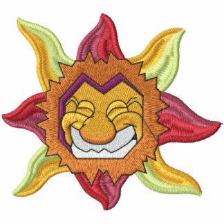 Sun radiante retro sudadera bordada con capucha