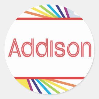 Sun & Rainbow for Addison Classic Round Sticker