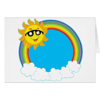 Sun & Rainbow Wreath with Clouds Card