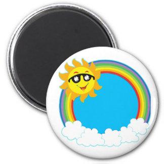Sun & Rainbow Wreath with Clouds Magnet