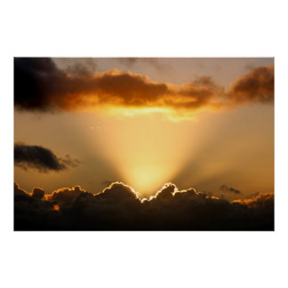 Sun rays and dark clouds poster
