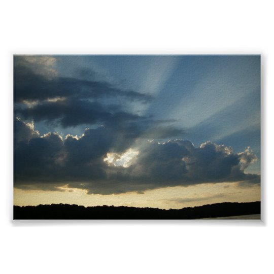 Sun  rays coming through the cloulds poster