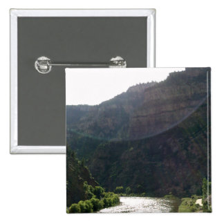 Sun Rays Kiss the sky over the mountains & stream Pinback Button