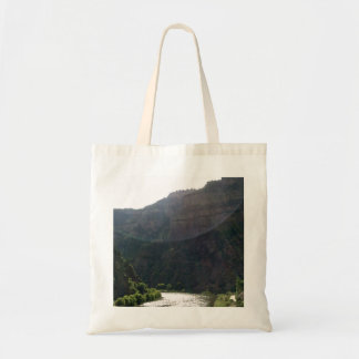Sun Rays Kiss the sky over the mountains & stream Tote Bag