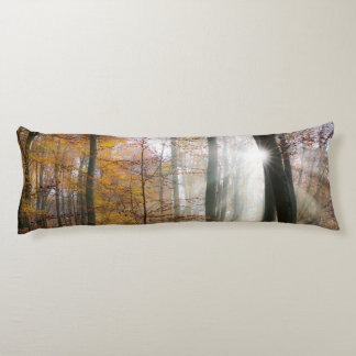 Sun Rays Mystic Misty Forest, cuddly Body Pillow