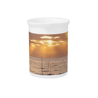 Sun Rays Ocean Sunset Drink Pitcher