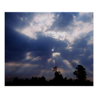 sun rays through clouds poster