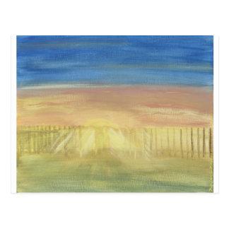 Sun Rays Through the Fence Postcard