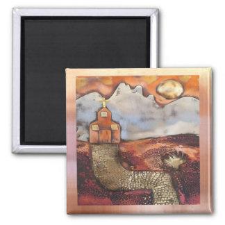 Sun Rise Church By Sheri Kerr 2 Inch Square Magnet