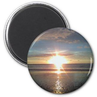 Sun Rise on North Beach 2 Inch Round Magnet