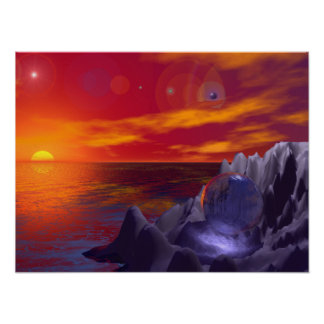Sun Rise Orange Water Blue Ball Posters