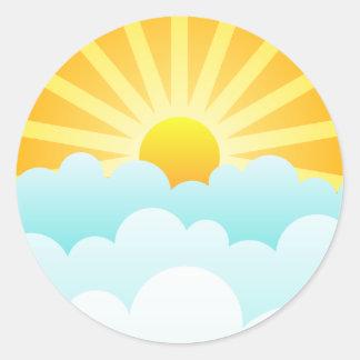 Sun Rising Over Clouds Classic Round Sticker