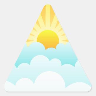 Sun Rising Over Clouds Triangle Sticker