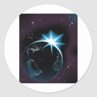 Sun rising over night time planet earth classic round sticker