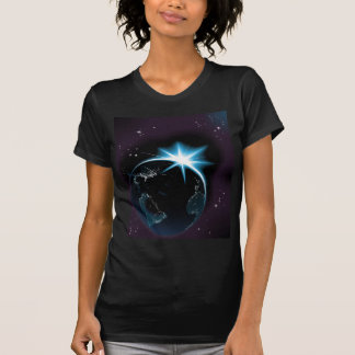 Sun rising over night time planet earth t-shirt