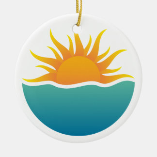 Sun rising over tropical waves ornament