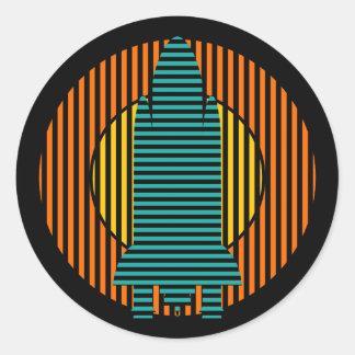 sun rocket stripes classic round sticker