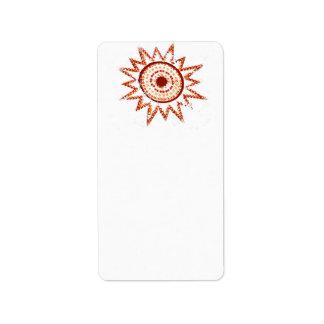Sun rojo en recorte del Grunge de las luces Etiquetas De Dirección