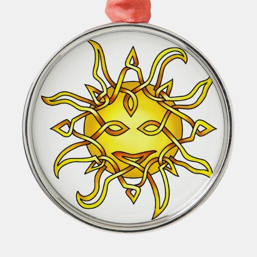 Sun Round Metal Christmas Ornament