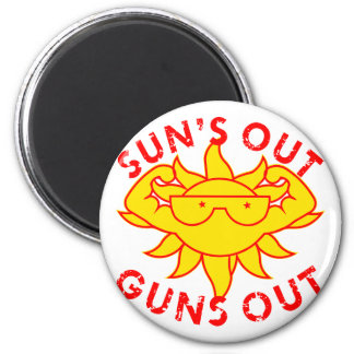 Sun's Out Guns Out Body Building Strength Training 2 Inch Round Magnet