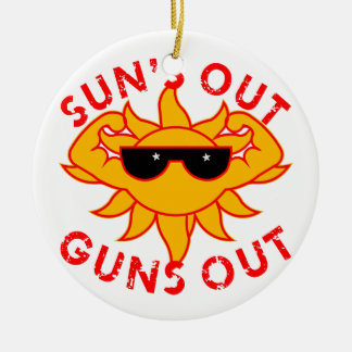 Sun's Out Guns Out Body Building Strength Training Ceramic Ornament