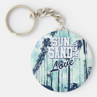 Sun, Sand, Surf, Love Athletic Beach art. Keychain