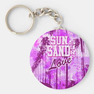 Sun, Sand, Surf, Love Athletic Beach art, magenta Keychain