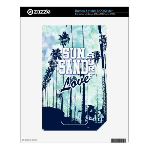 Sun, Sand, Surf, Love Beach Life artwork. NOOK Color Decals