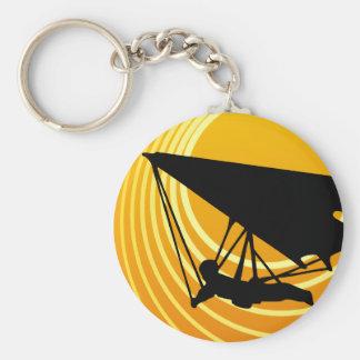 sun scene hang gliding basic round button keychain