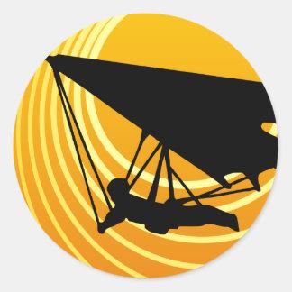 sun scene hang gliding classic round sticker
