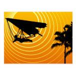 sun scene hang gliding postcard