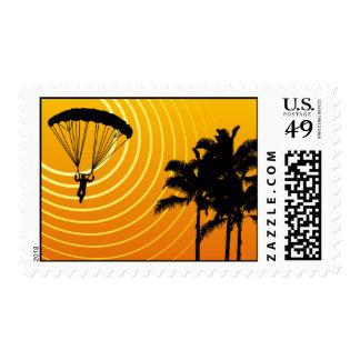 sun scene skydiving postage stamp