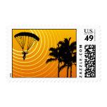 sun scene skydiving postage stamps