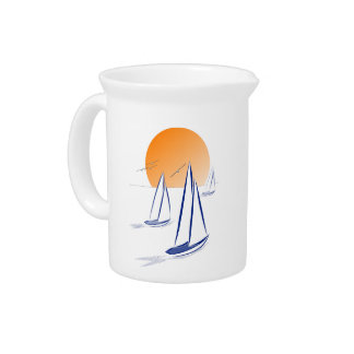 Sun, Sea 'N' Sail! Coastal Yachts Beverage Pitcher