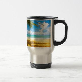sun sea sand palm tree paradise beach travel mug