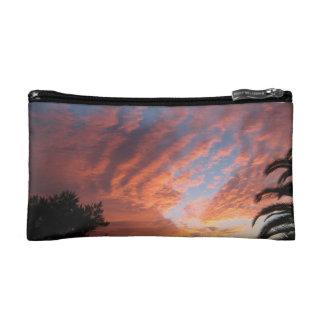 Sun set on a small cosmetic bag. makeup bag