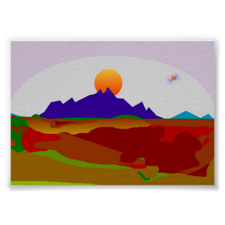 sun sets on mountain-top poster